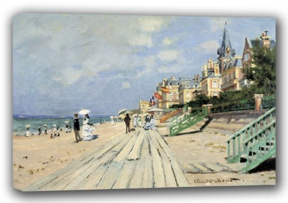 Monet, Claude: The Beach at Trouville. Fine Art Landscape Canvas. Sizes: A3/A2/A1 (00745)